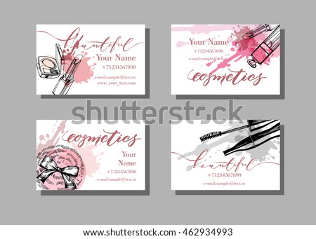 Makeup artist business card vector template stock vector 462934993 makeup artist business card vector template with makeup items pattern brush pencil colourmoves