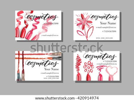 Makeup artist business card. Vector template with makeup items pattern - lipstick. Fashion and beauty background. Template Vector. - stock vector
