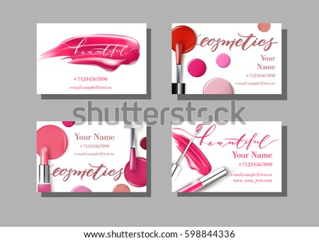 Makeup artist business card vector template stock vector royalty makeup artist business card vector template with makeup items pattern lipstick fashion and colourmoves