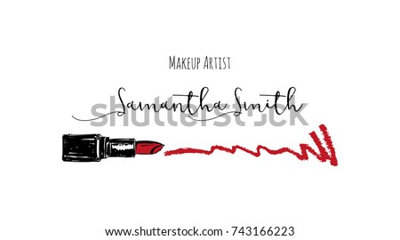 Makeup artist business card vector template stock vector 743166223 makeup artist business card vector template with makeup items pattern smears red lipstick reheart Choice Image