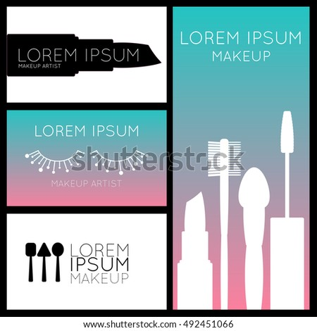 Makeup Artist Business Cards Flyerbannerposter Template Stock Vector