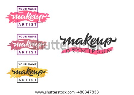 Makeup Artist Logo Lettering Illustration