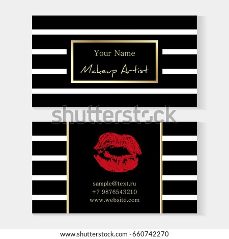 Makeup artist stylish business card artistic stock vector 660742270 makeup artist stylish business card artistic templates with trace of a red lipstick kiss colourmoves