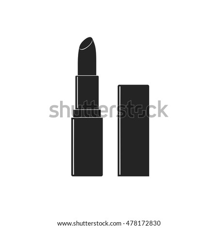 Makeup beauty vector lipstick tube icon isolated on white background. Accessory lipstick icon glossy fashion and cosmetic care in flat style.