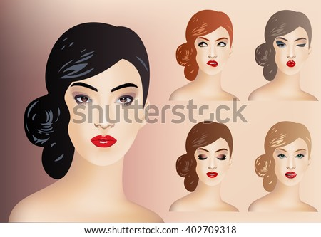 Makeup creator. Set for fashion modeling female faces.