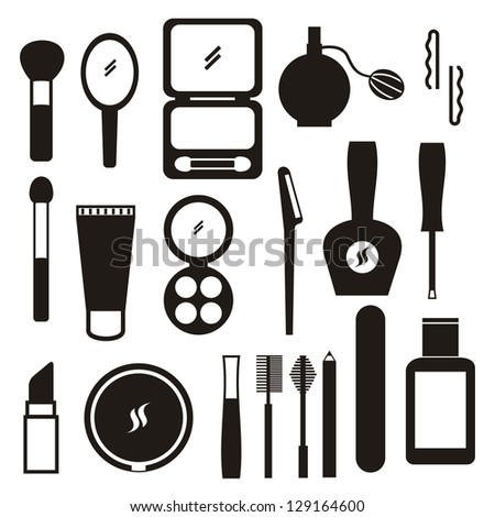 Makeup Icon Vector Makeup Icons Over White