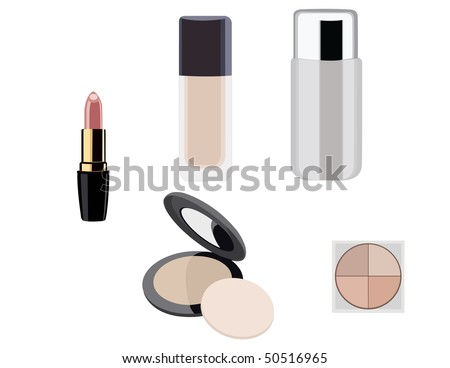 Makeup objects. Vector illustration