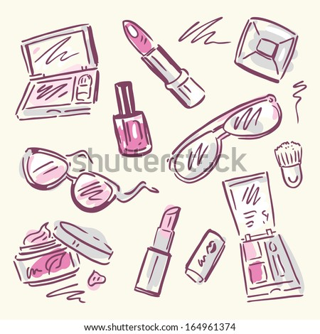 Makeup products set. Cosmetics. Hand drawn Vector Illustration. - stock vector