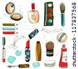 Makeup Set Colorful Drawing. EPS8 layered vector illustration. No effects. - stock vector