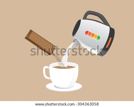 Making instant coffee with pour hot water and coffee powder in a cup at the same time. - stock vector