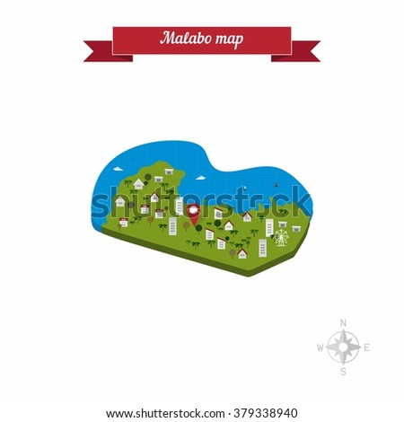 Malabo Equatorial Guinea Map Flat Style Stock Vector HD Royalty