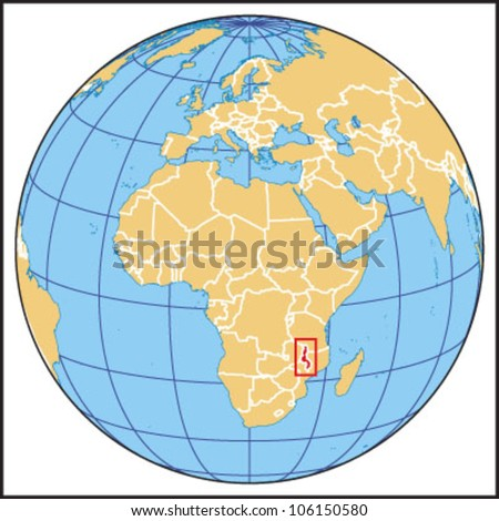 Malawi Locate Map - stock vector