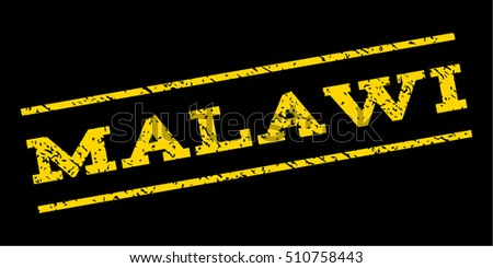 Malawi watermark stamp. Text caption between parallel lines with grunge design style. Rubber seal stamp with scratched texture. Vector yellow color ink imprint on a blue background.