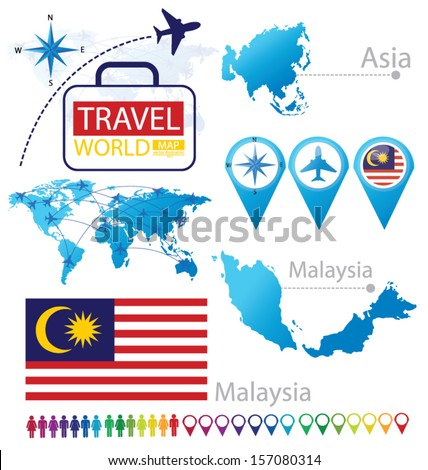 Malaysia. flag. Asia. World Map. Travel vector Illustration. - stock vector