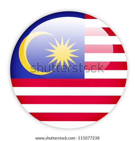 Malaysia flag button on white - stock vector