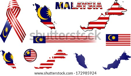 Malaysia Icons. Set of vector graphic images and symbols representing Malaysia. - stock vector