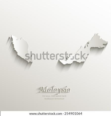Malaysia map card paper 3D natural vector - stock vector