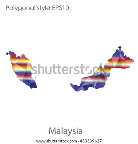Malaysia map in geometric polygonal style.Abstract tessellation,modern design background.