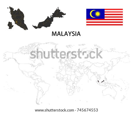 Malaysia map on world map flag stock vector 2018 745674553 malaysia map on a world map with flag on white background gumiabroncs Choice Image