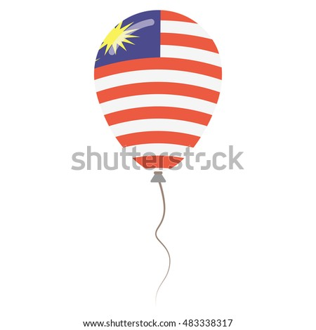 Malaysia national colors isolated balloon on white background. Independence day patriotic poster. Flat style National day vector illustration.
