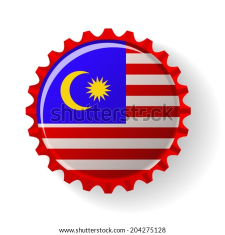 Malaysia on bottle caps - stock vector
