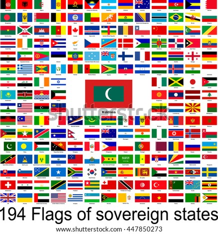 Maldives, collection of vector images of flags of the world