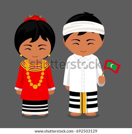 Maldives National Dress Flag Man Woman Stock Vector