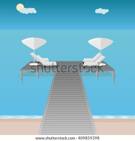 Maldives light blue ocean beach with white sun beds and umbrella on a wooden deck with bridge. Light wooden tan platform over surface. Relaxing sunbathing around ocean - stock vector
