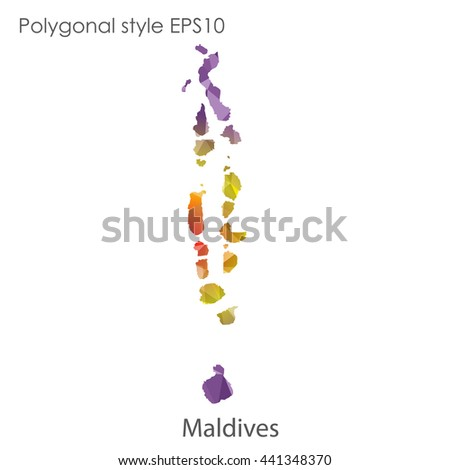 Maldives Map Geometric Polygonal Style Abstract Gems Stock Vector ...