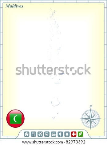 Maldives Map with Flag Buttons and Assistance & Activates Icons Original Illustration - stock vector