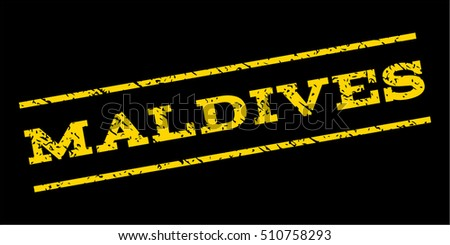 Maldives watermark stamp. Text caption between parallel lines with grunge design style. Rubber seal stamp with dirty texture. Vector yellow color ink imprint on a blue background.