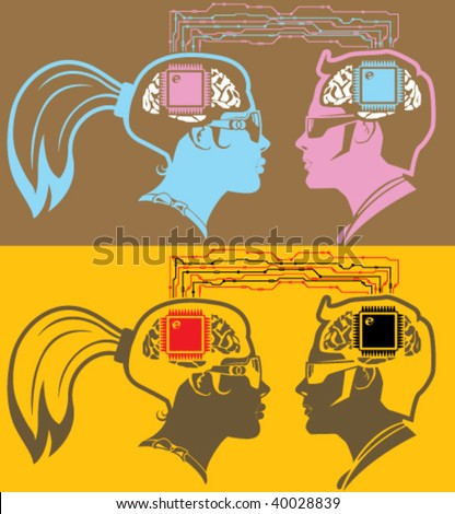 Male and Female Brain Chip Connect - stock vector