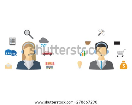 Male and female call center - stock vector