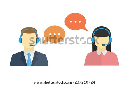 Male and female call center avatar icons with a faceless man and woman conceptual of client services and communication - stock vector