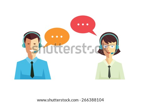 Male and female call center avatar icons with a faceless man and woman wearing headsets with colorful speech bubbles conceptual of client services and communication - stock vector