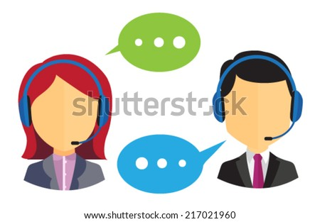 Male and female call center icons with headsets and speech bubbles on white background - stock vector