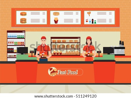 Male And Female Cashier At Fast Food Restaurant Interior With Hamburger And  Beverage, Character Flat