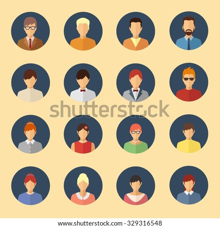 Male and female character avatars. Flat style people vector icons set - stock vector
