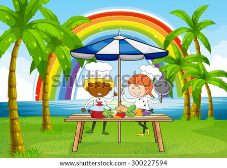 Male and female chefs cooking outside - stock vector