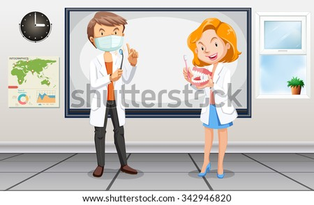 Male and female dentists with tools illustration - stock vector