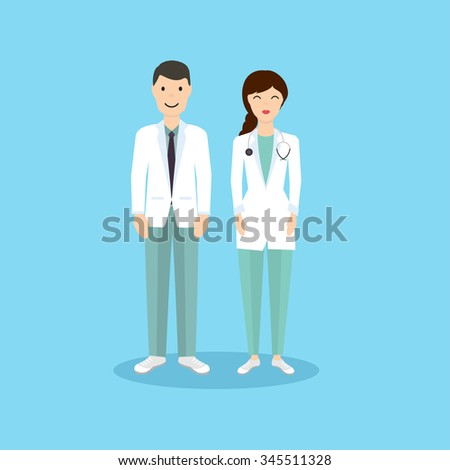 Male and Female Doctor occupation character in flat design. Vector illustration. - stock vector