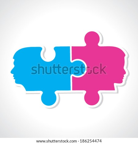 Male and female face with puzzle pieces stock vector - stock vector