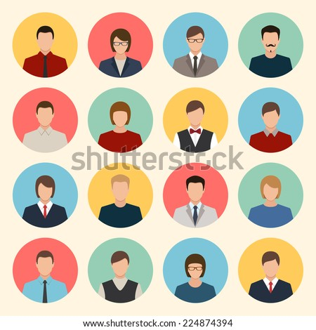 male and female faces avatars. flat style vector icons set - stock vector