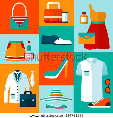 Male and female fashion design clothes and accessories decorative elements icons vector illustration - stock vector