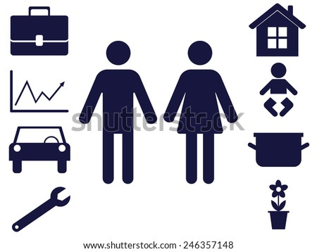 male and female figures with items symbolizing traditional man and woman spheres of responsibility - stock vector
