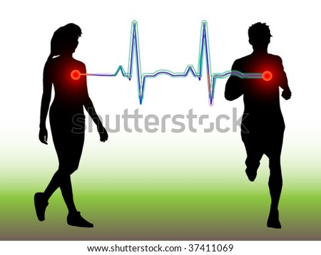 Male and female - fitness with EKG to hearts - stock vector