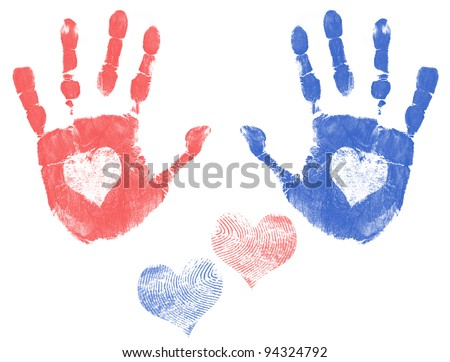 Male and female handprint with a heart. Love handprint concept, vector illustration - stock vector
