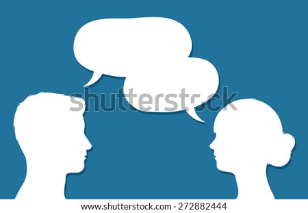Male and female heads in conversation facing each other with overlapping speech bubbles conceptual of communication, discussion, teamwork, chatting or forums, vector design - stock vector