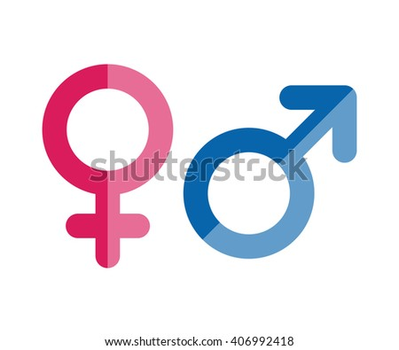 Male and female icons. Gender symbols. Vector flat style illustration - stock vector