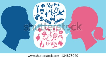 Male and female profiles with speech bubbles filled with assorted symbols of men and women interests - stock vector